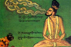 gravura antiga com yogui praticando pranayama